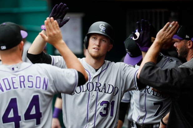Colorado Rockies' Kyle Freeland (31) celebrates ...