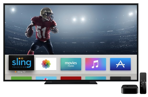 Sling TV, displayed on Apple TV, is a live, linear and on-demand multichannel pay-TV service all within a single app.