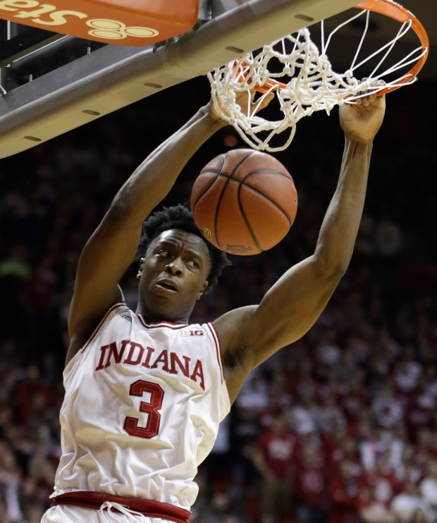Indiana's OG Anunoby dunks during the second half of an NCAA college basketball game against Rutgers, Sunday, Jan. 15, 2017, in Bloomington, Ind. (AP Photo/Darron Cummings)