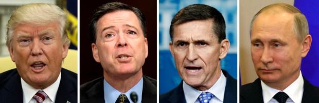 President Donald Trump, former FBI Director James Comey, former National Security Adviser Michael Flynn, and Russian President Vladimir Putin.