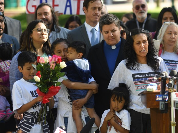 Jeanette Vizguerra, a mother of four who is in the US illegally and has taken sanctuary at First Baptist Church of Denver, was granted a stay of deportation on May 12, 2017 in Denver. Vizguerra speaks to the media with family and supporters by her side.