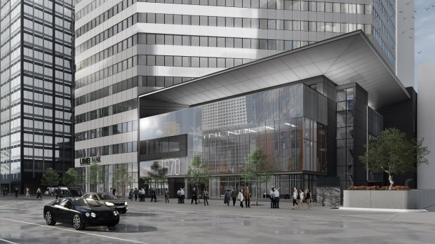 Downtown office tower 1670 Broadway is building a four-story addition that will house a TIAA retail space, fitness center, expanded cafeteria dining area and rooftop deck.