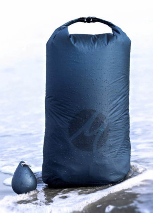 The waterproof Matador Droplet XL Wet Bag holds 20 liters but stashes inside a small silicone pod with an integrated carabiner.
