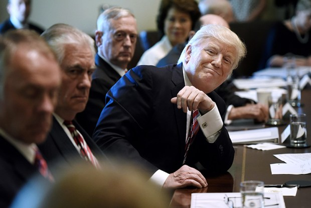President Donald Trump smiles during Monday's Cabinet meeting at the White House.