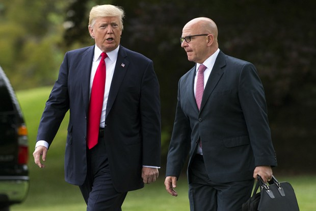 "President Donald Trump walks with National Security Adviser H.R. McMaster on the South Lawn of the White House on Friday. Trump recently told Republican senators that the health care bill passed in the House is ""mean"" and urged them to craft a ""more generous"" version."