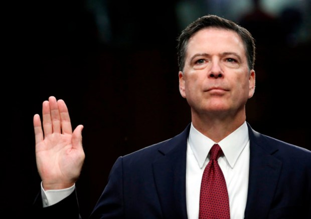Former FBI director James Comey is sworn in during last Thursday's Senate Intelligence Committee hearing on Capitol Hill.