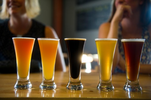 A flight of beer is served at River North Brewery on July 30, 2013.