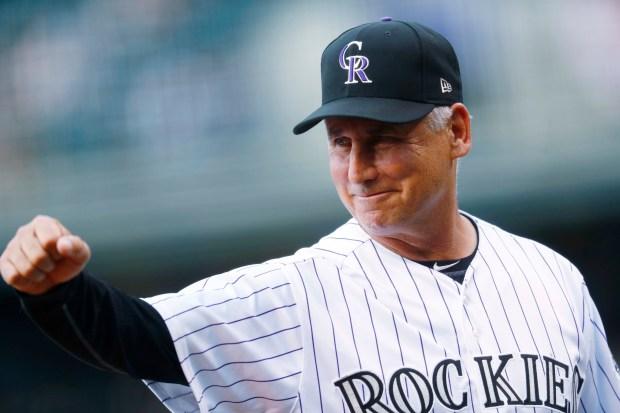 Colorado Rockies manager Bud Black gestures ...
