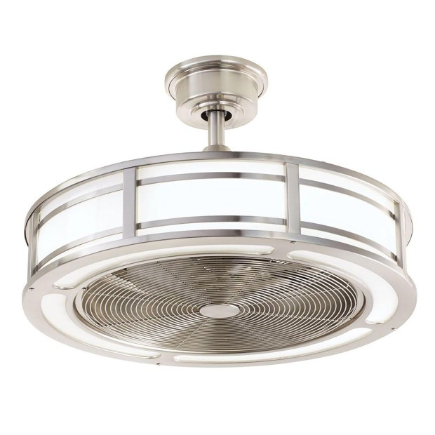 The Brette 23-inch LED indoor/outdoor brushed nickel ceiling fan, by Home Decorators Collection ($229, homedepot.com). (MUST CREDIT: Home Depot)