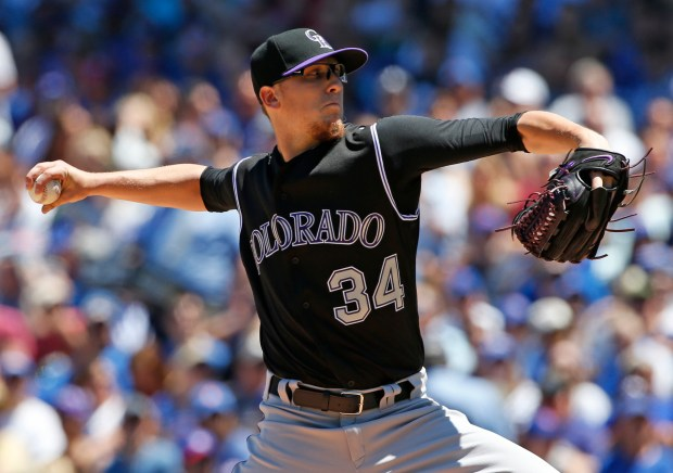 Colorado Rockies starting pitcher Jeff Hoffman ...