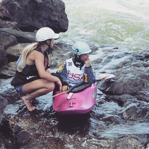 Kady Kellogg, 18, coaches her little sister Maddy, 12, on her way to second place in the cadet girls division of the USA Freestyle Kayak Nationals competition in Columbus, Ga., in April.