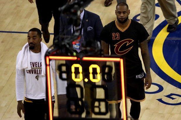 (L-R) JR Smith #5 and LeBron ...