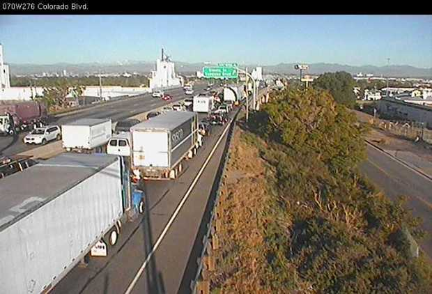 A semi-truck fire closed west-bound Interstate 70 at Vasquez in Denver, snarling rush-hour traffic.