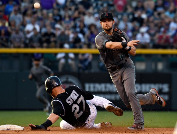 DENVER, CO - JUNE 20: Colorado Rockies shortstop Trevor Story (27) gets forced at second base as Arizona Diamondbacks shortstop Chris Owings (16) throws over to first base to get Colorado Rockies catcher Tony Wolters (14) for the double play on June 20, 2017 in Denver, Colorado at Coors Field.
