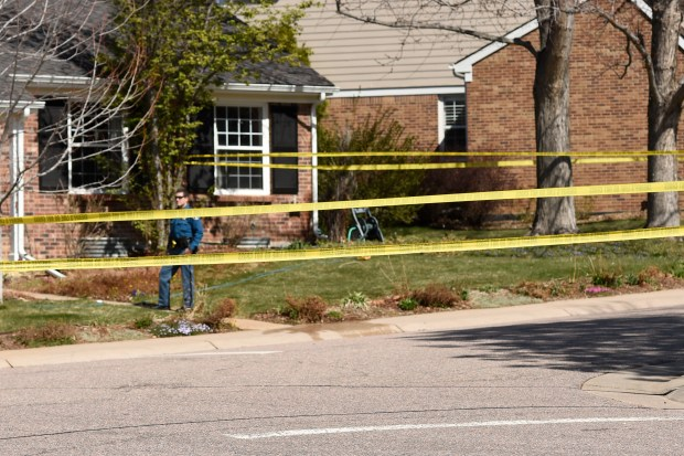 Arapahoe County authorities respond to a shooting in Centennial, April 04, 2016.
