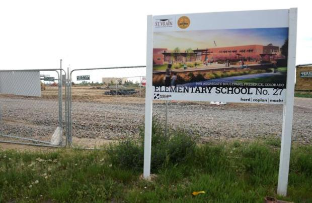 The construction site for a new elementary school in Frederick is pictured Friday.