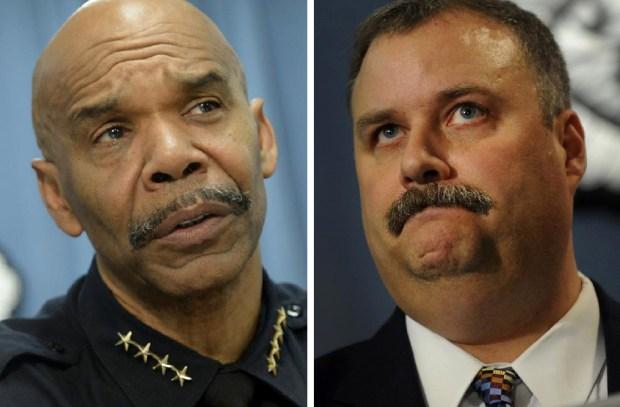 Denver Police Chief Robert White, left, and Deputy Chief Matt Murray.