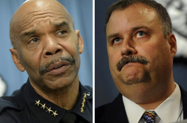 Denver Police Chief Robert White, left, and Deputy Chief Matt Murray have been under investigation for the past nine months for how they handled an open records request.