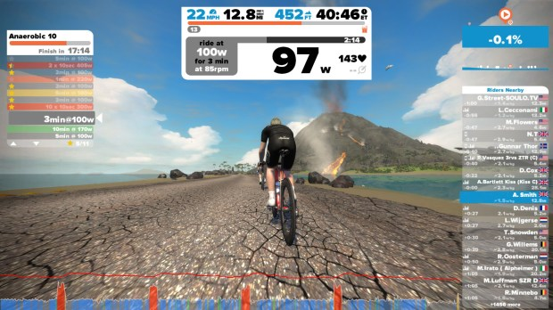 Statistics and a leaderboard are shown during a Zwift workout.