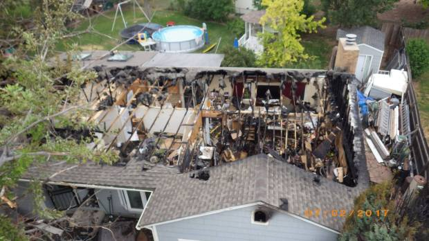 The aftermath of a house fire in Aurora on July 3, 2017, the result of illegal fireworks.