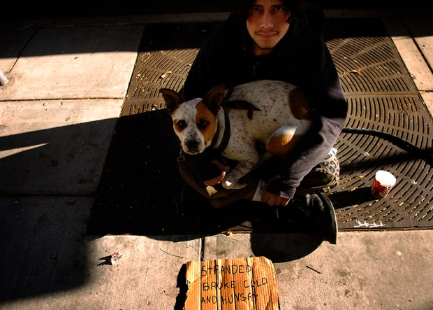 An 18-year-old homeless man, along with his dog, asks for money on Denver's 16th Street Mall on Nov. 16, 2005.