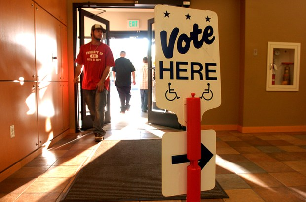 A sign directs voters at the Denver Election Commission on Nov. 6, 2007.