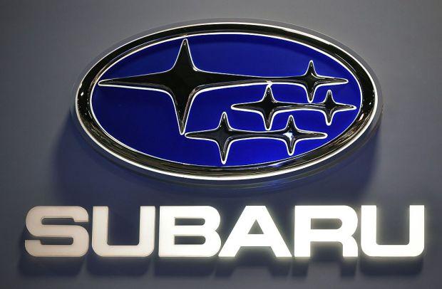A Subaru logo is seen at ...