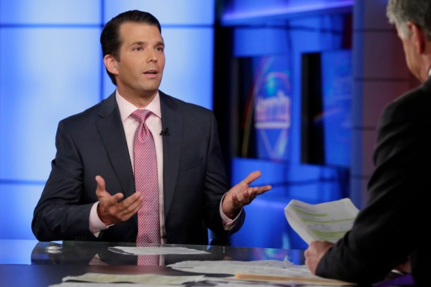 Donald Trump Jr., left, is interviewed by host Sean Hannity on his Fox News program on Tuesday. Trump eagerly accepted help from what was described to him as a Russian government effort to aid his father's campaign with damaging information about Hillary Clinton, according to emails he released publicly on Tuesday.
