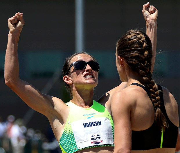 Sara Vaughn, left, celebrates after finishing third in the women's 1,500 meters at the U.S. Track and Field Championships on June 24 in Sacramento, Calif., as first-place finisher Jenny Simpson looks on.