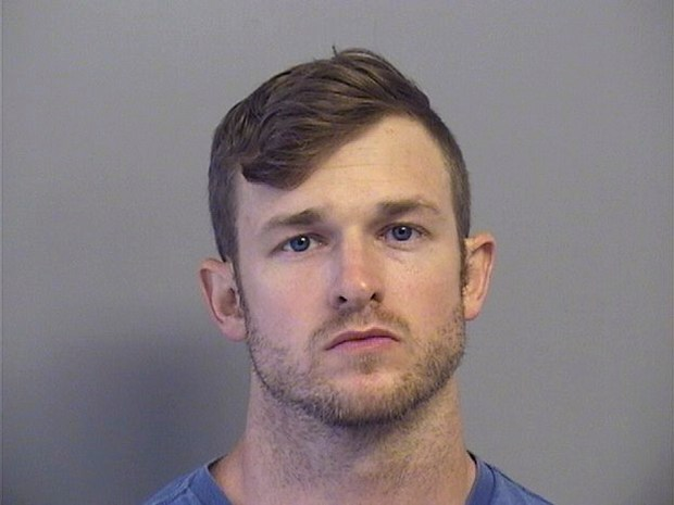 In this Tuesday, July 11, 2017 photo provided by the Tulsa County Sheriffs Office, Benjamin Don Roden is pictured in a booking photo. An arrest report shows Roden faces federal charges after a pipe bomb explosion blew the door off an Air Force recruiting center in the Tulsa area. The report says Roden faces counts of possession of explosive materials and destruction of government property. He was arrested Tuesday, but hasn't been formally charged.