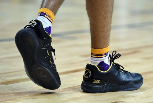 Lonzo Ball #2 of the Los Angeles Lakers wears Big Baller Brand ZO2 sneakers during a 2017 Summer League game against the Boston Celtics at the Thomas & Mack Center on July 8, 2017 in Las Vegas, Nevada.