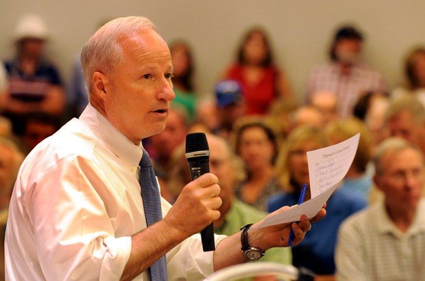 Congressman Mike Coffman speaks during a town meeting about health care in Littleton on Aug. 12, 2009.