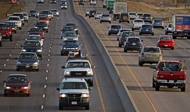 Traffic moves along on Interstate 25 north of Denver during the morning rush hour on March 20, 2014. According to a study by Kars4Kids, a New Jersey-based nonprofit, Colorado drivers are the most polite in the United States.