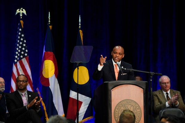 Denver Mayor Michael Hancock makes his ...