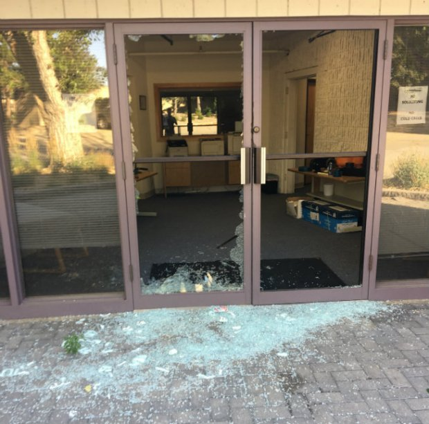 The front door of Argonics Inc. in Louisville, after a goat shattered it over the weekend.