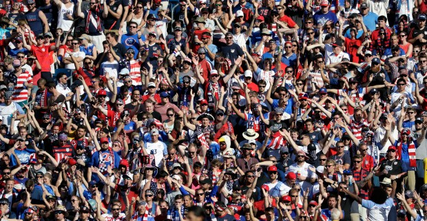 Fans cheer during a CONCACAF Gold Cup soccer match between Panama and the United States Saturday, July 8, 2017, in Nashville, Tenn. (AP Photo/Mark Humphrey)