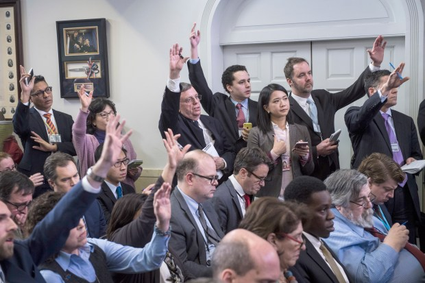 The One America network has just gained a coveted seat in the White House briefing room. MUST CREDIT: Washington Post photo by Jabin Botsford