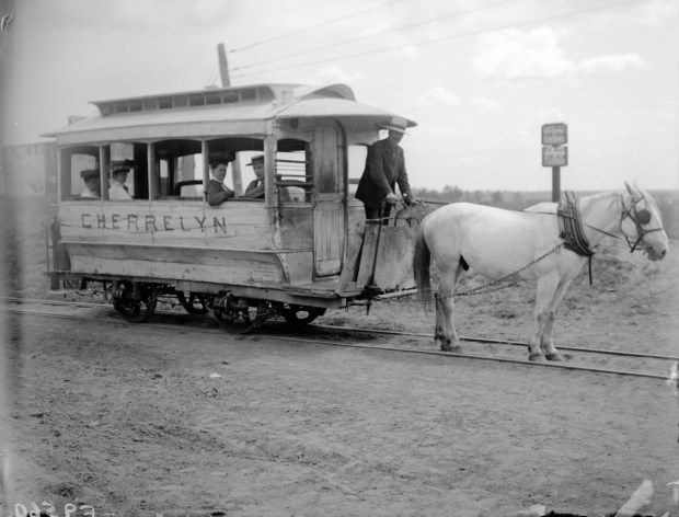 A horse pulls the Cherrelyn Gravity and Broncho Street Railway horse car in Denver in this photo taken between 1905 and 1910.