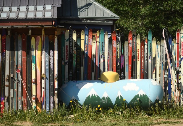 A fence made of old skis is seen here on June 27, 2017 in Silverton.
