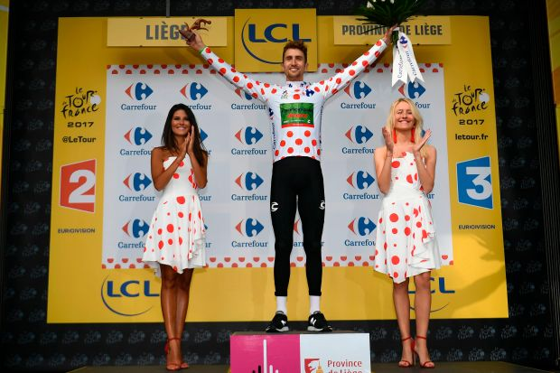 USA's Taylor Phinney celebrates his polka ...