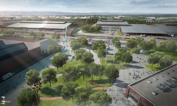 The National Western Center master plan calls for a series of public plazas, including around a new transit station, as part of a project that will remake an enlarged Stock Show campus. In all, there would be 46 acres of flexible open space on the grounds, connecting to 80 acres on the other side of the South Platte River.