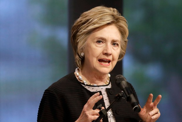 """Former Secretary of State Hillary Clinton speaks in Baltimore on June 5. Clinton's next book, """"What Happened,"""" is scheduled to come out Sept. 12."""
