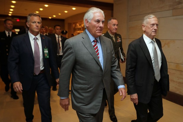 WASHINGTON, DC - JULY 20: U.S. Secretary of State Rex Tillerson (center), Defense Secretary James Mattis (right), and Chairman of the Joint Chiefs of Staff Gen. Joseph Dunford (second from right) arrive at the U.S. Capitol on July 20 to brief members of the House of Representatives.