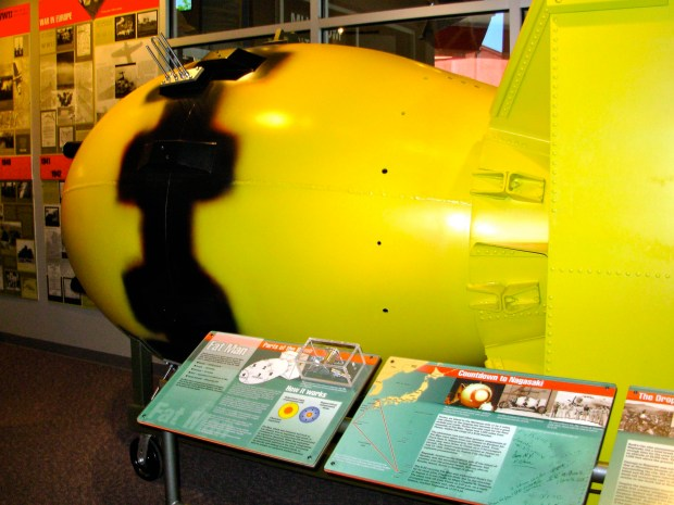 A replica of the Fat Man atomic bomb that was dropped on Nagasaki, Japan, on Aug. 9, 1945, is displayed in the Bradbury Science Museum in Los Alamos, N.M.