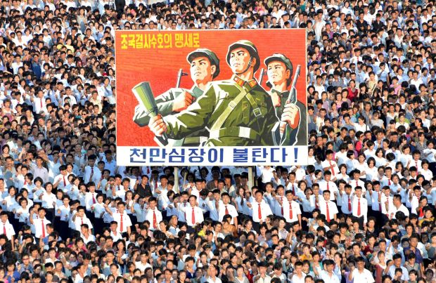 This picture taken on Wednesday and released by North Korea's official Korean Central News Agency shows a rally in Pyongyang in support of North Korea's stance against the United States.