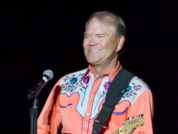 This Sept. 6, 2012 file photo shows singer Glen Campbell performing during his Goodbye Tour in Little Rock, Ark.
