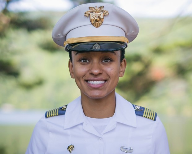 In this Aug. 3, 2017, image provided by the U.S. Army, West Point Cadet Simone Askew poses for a photo. Askew is making history as the first black woman to lead the Long Grey Line at the U.S. Military Academy. She will be responsible for the overall performance of the roughly 4,400 cadets at West Point.