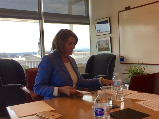 U.S. House Majority Leader Nancy Pelosi during an editorial board interview at The Denver Post on Aug. 30, 2017.