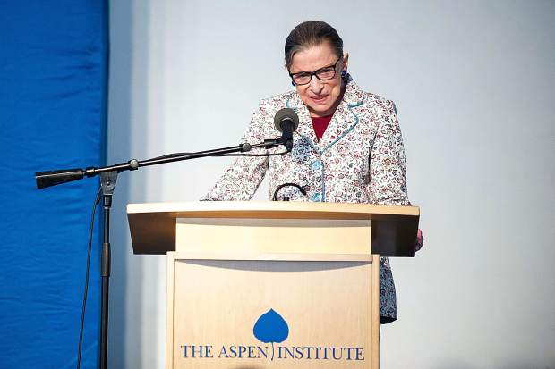 U.S. Supreme Court Justice Ruth Bader Ginsburg speaks at the Greenwald Pavilion of the Aspen Institute on Tuesday evening.