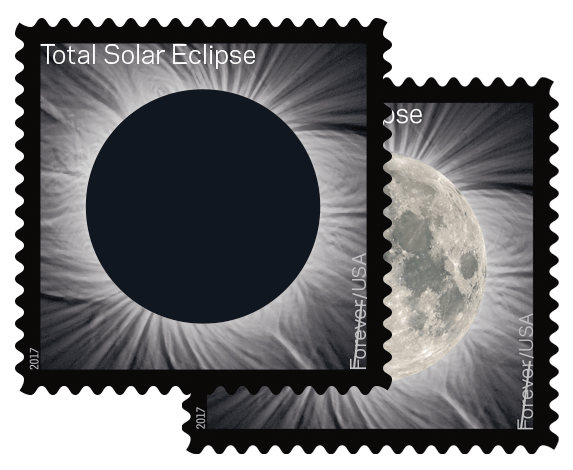 The Total Eclipse of the Sun Forever stamp debuted June 20, 2017. It's the U.S. Postal Service's first heat-activated stamp. Using thermochromic ink from Chromatic Technologies Inc. in Colorado Springs, the stamp's black ink spot vanishes when you press your finger on it to reveal a full moon.